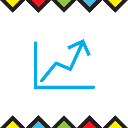 Stats up sign line vector icon. Growth Chart cash flow Icon. Profit increase symbol.