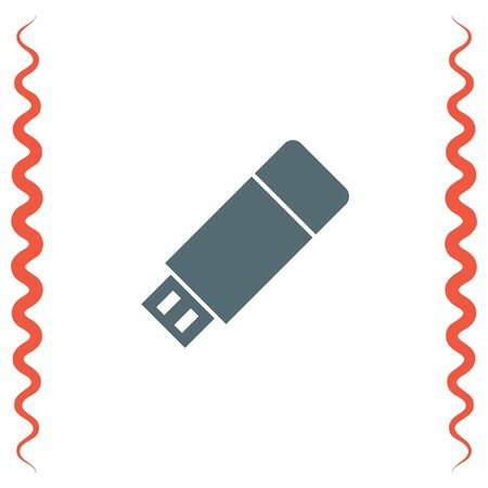 removable: USB stick vector icon. Flash memory sign. Removable data drive symbol