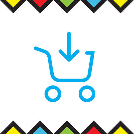 super market: Add to shopping chart line vector icon. On line shop sign. Web store purchase symbol. Illustration
