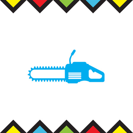 Chainsaw vector icon. Timber industry symbol.