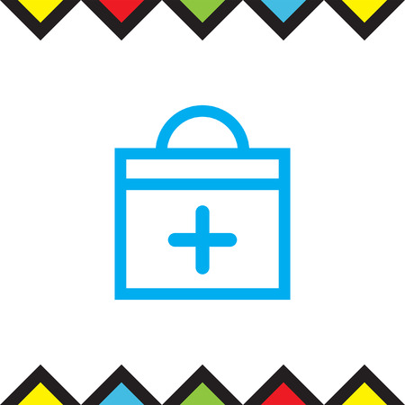 first aid sign: First aid sign line vector icon. Support sign vector icon. Medical emergency briefcase icon.