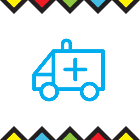 emergency sign: Ambulance car sign line vector icon. Emergency sign line icon. Rescue service sign line vector icon.