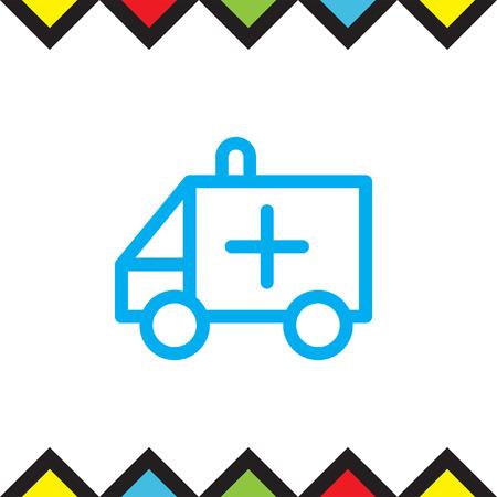 rescue service: Ambulance car sign line vector icon. Emergency sign line icon. Rescue service sign line vector icon.