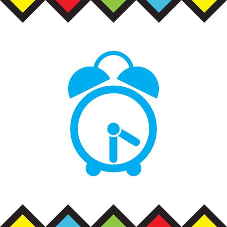 Analog alarm clock vector icon. Watch with bell symbol. Time sign. Illustration