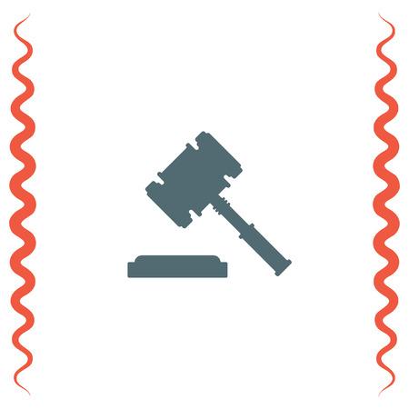 judgments: Judge hammer vector icon. Justice sign. Law symbol
