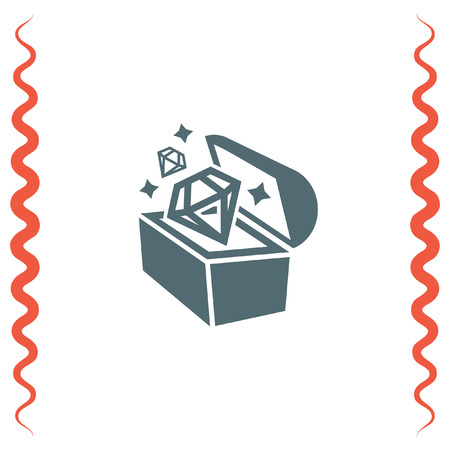 mimic: Treasure chest vector icon. Hidden gold and diamonds sign. Old pirate trunk symbol Illustration