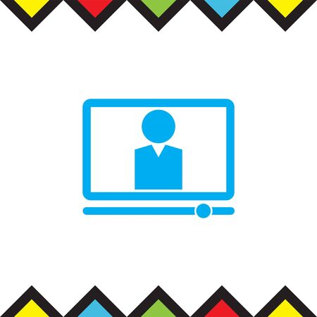 computer education: Computer study vector icon. On line studies sign. Education from home symbol Illustration