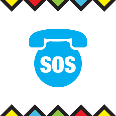 SOS phone vector icon. Emergency contact sign. EMS cell service symbol Illustration
