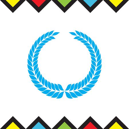 Laurel wreath vector icon. Caesar sign. Rome symbol