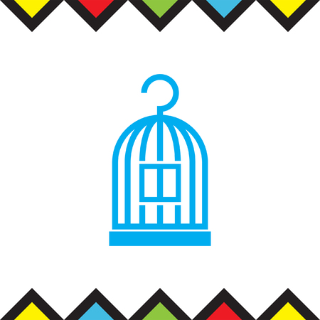 jail bird: Bird Cage vector icon. Lost of freedom symbol. Trapped sign. Illustration