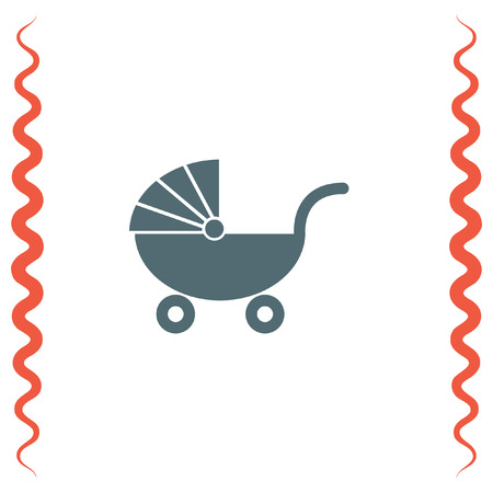 stroller: Pushchair vector icon. Baby stroller sign. Kid stroller symbol
