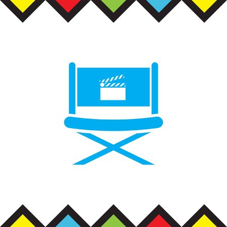 movie director: Cinema Director Chair vector icon. Movie director seat. Video symbol. Illustration