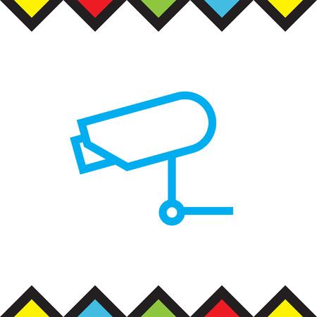 monitored: Security camera sign line vector icon. Video monitoring icon. Camera cctv sign. Surveillance symbol.
