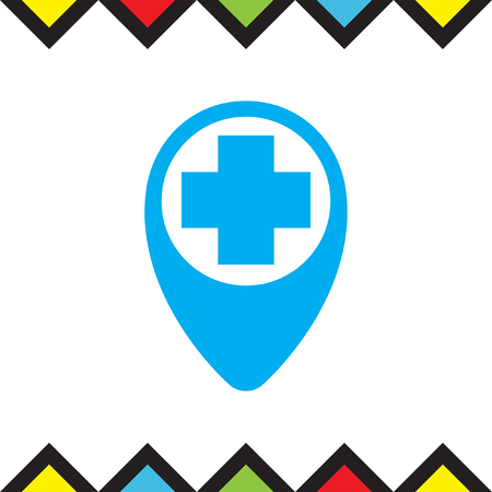 hospital sign: Street pin for first aid vector icon. Hospital sign. Medical care symbol