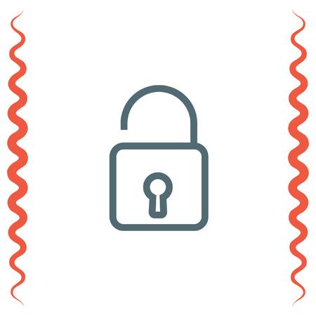 encrypt: Padlock sign line vector icon. Open lock sign icon. Protection sign. Password symbol. Unlock symbol.