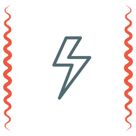 power supply: Lightening bolt sign line vector icon. Power supply sign. Electricity symbol.