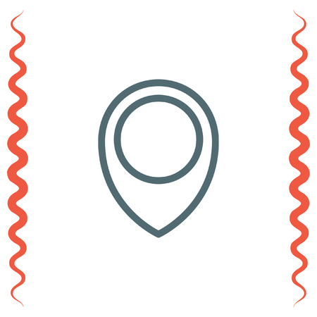 placeholder: Placeholder map pin line vector icon. Destination pointer pictograph. Road location sign. GPS navigation pin symbol. Illustration