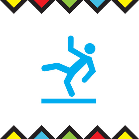 Slippery wet floor vector icon. Warning sign. Attention dangerous symbol Illustration