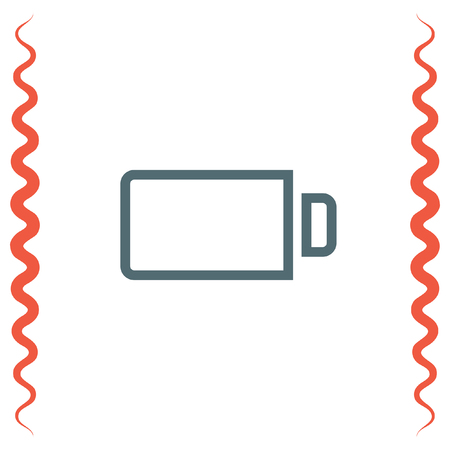 fuel and power generation: Battery empty sign vector icon. Electrical power sign. Rechargeable energy symbol.