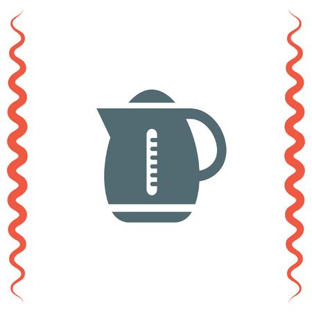 electric tea kettle: Water boiler vector icon. Kettle sign. Hot beverage symbol