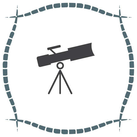 observing: Telescope vector icon. Astronomy optical instrument sign. Spyglass symbol
