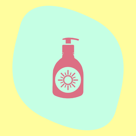 skin protection: Sun lotion vector icon. Skin protection sign. Sunscreen and sunblock symbol Illustration
