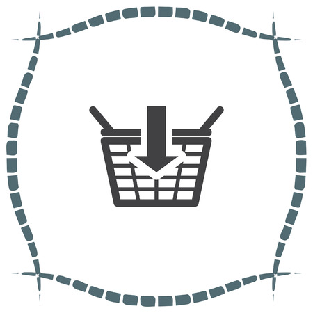 add to basket: Add to shopping basket vector icon. On line shop sign. Web store purchase symbol.