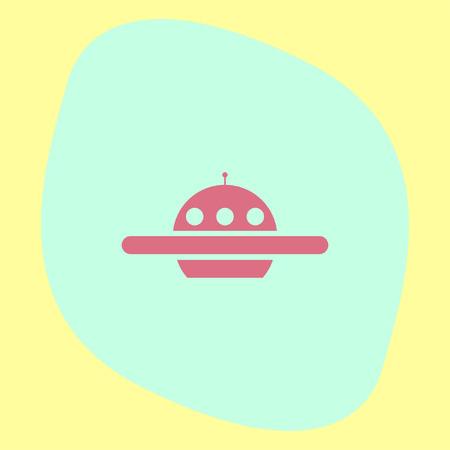 spacecraft: Ufo vector icon. Alien ship sign. Spacecraft and saucer  symbol Illustration