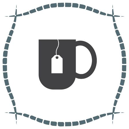 teabag: Tea cup vector icon. Hot drink sign. Teabag in a hot water mug symbol