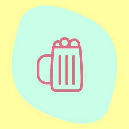 froth: Beer sign line vector icon. Glass of alcohol drink sign. Brewery symbol.