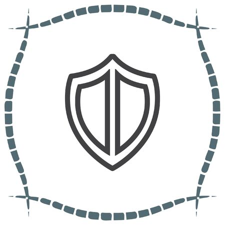 defense: Shield sign line vector icon. Protection symbol vector icon. Royal defense symbol. Illustration