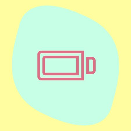 alkaline: Battery full sign line vector icon. Electrical power sign. Rechargeable energy symbol.
