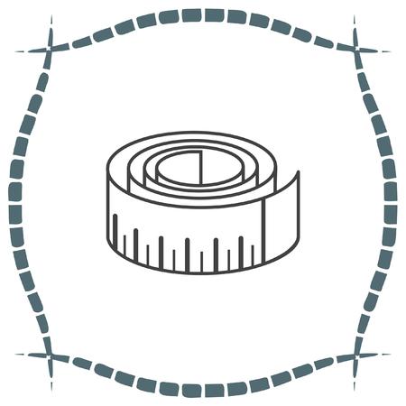 cintas metricas: Mida icono del vector de la cinta. La medici�n de se�al de dispositivo. s�mbolo de medici�n de la construcci�n