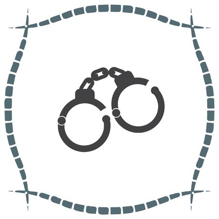 convict: Handcuffs vector icon. Police arrest sign. Jail symbol