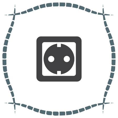 outlet: Power socket vector icon. Electric outlet sign. Power plug symbol Illustration