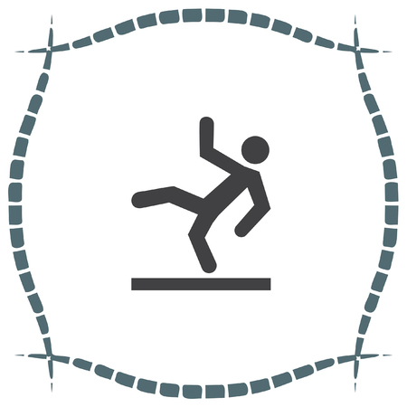 slippery warning symbol: Slippery wet floor vector icon. Warning sign. Attention dangerous symbol Illustration