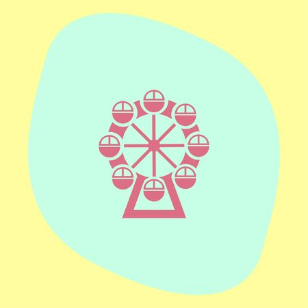 enjoyment: Ferris Wheel vector icon. Amusement park sign. Luna park symbol Illustration