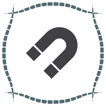 magnetic: Magnet sign vector icon. Magnetic power sign. Physics symbol.