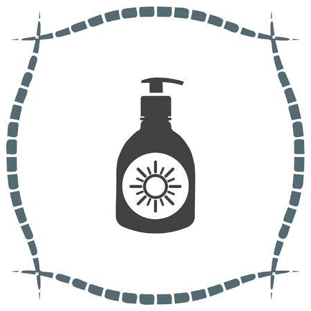 sun lotion: Sun lotion vector icon. Skin protection sign. Sunscreen and sunblock symbol Illustration