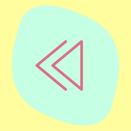 ui: Backward button sign line vector icon. UI control Backward button.