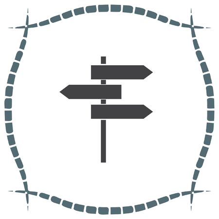 crossroad guide: Road sign vector icon. Crossroad sign. Guide signpost symbol