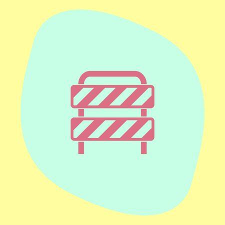 traffic barricade: Traffic barrier vector icon. Road block sign. Safety barricade symbol.