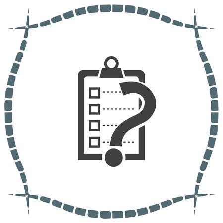 clip board: Check list with question mark vector icon. Clip board with question mark sign.