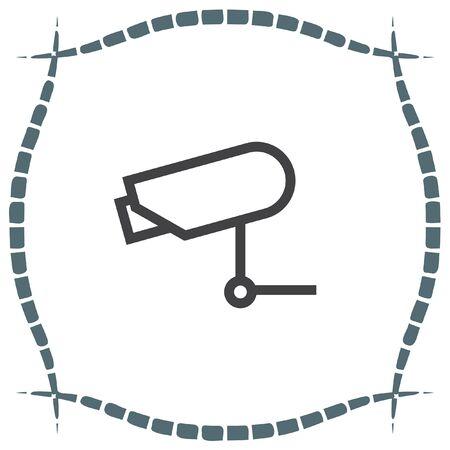 video surveillance symbol: Security camera sign line vector icon. Video monitoring icon. Camera cctv sign. Surveillance symbol.