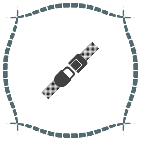 buckles: Seat belt vector icon. Safety car device sign. Fasten airplane belt symbol Illustration