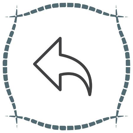 ui: Back arrow sign line vector icon. UI control back button. Illustration