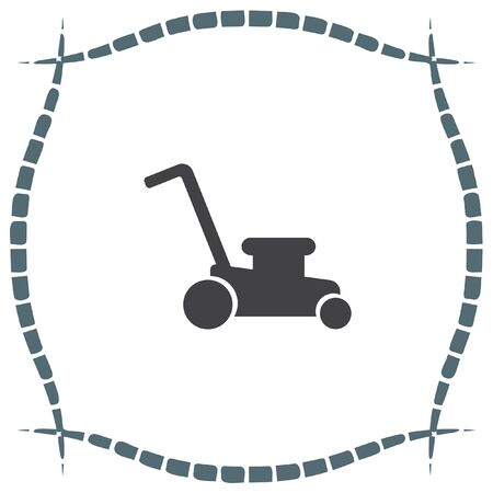 mower: Mower vector icon. Lawnmower sign. Landscaping symbol