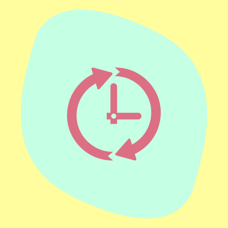 ticker: Clock with arrows vector icon. Time shower sign. Ticker symbol. Illustration