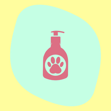 showering: Pet shampoo vector icon. Animal cleaning soap sign. Dog and cat bathing and showering wash symbol