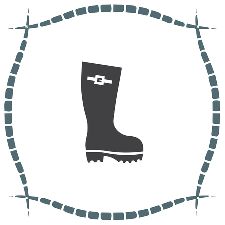 footwear: Rain boot vector icon. Rubber footwear sign. Gumboot symbol